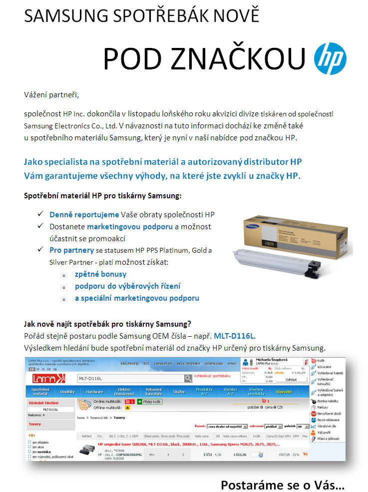 HP spotrebak pro Samsung tiskarny